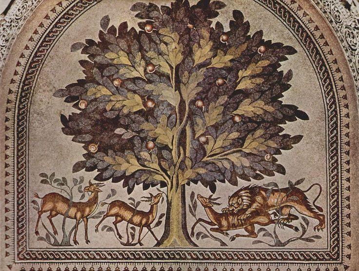 "Khirbat al-Mafjar - The ""Tree of Life"" mosaic in the audience room of the bath house."
