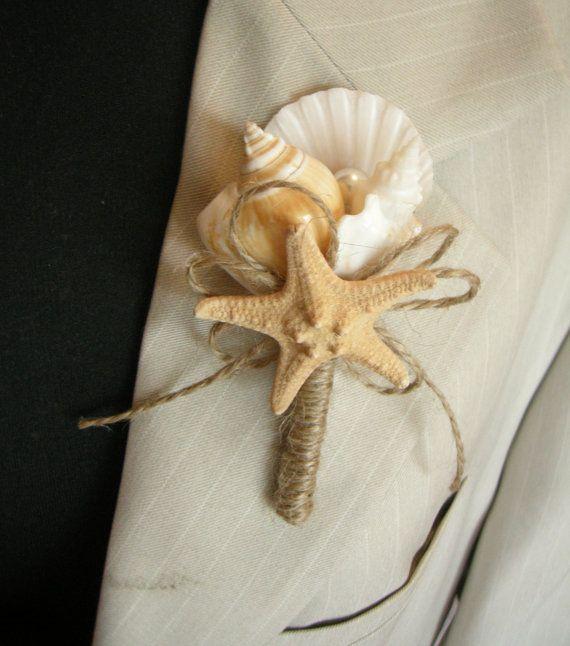 Shell Boutonniere Starfish, Wedding Sea Shell, Beach Wedding, Groom Boutonniere, Clamshells boutonnieres, Starfish, Button Boutonniere