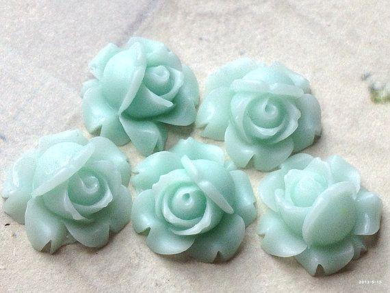 .sg 15 mm Peppermint Green Shrub Rose Resin Flower Cabochons