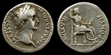 "Tribute penny of the Bible: ""...Render unto Caesar that which is Caesar's, and to God what is God's."" - Jesus. Tiberius Caesar coin,minted during the ministery of Jesus."