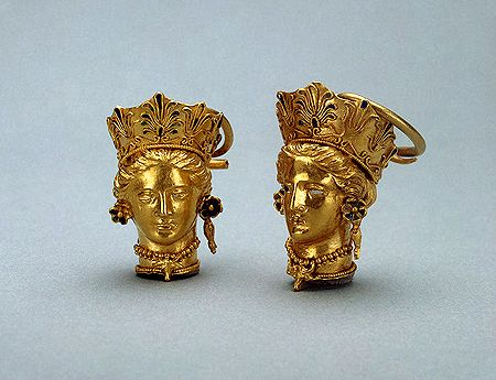 Pair of Earrings Shaped like a Woman's Head    Circa 350 BC