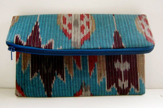 Fold over ikat clutch