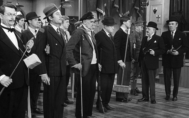 A scene from the first-ever episode of Dad's Army, 'The Man and the Hour' - which originally aired 31 July 1968.
