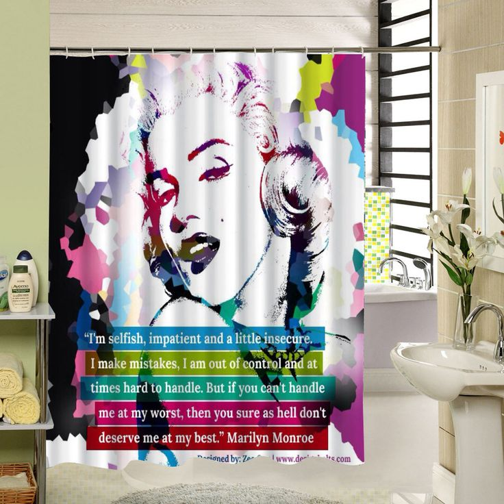 Cortina Ducha Fashion Bathroom Curtain Decor Waterproof Polyester Fabrics Marilyn Pattern Home Shower Curtain Set With Hook - ICON2 Luxury Designer Fixures  Cortina #Ducha #Fashion #Bathroom #Curtain #Decor #Waterproof #Polyester #Fabrics #Marilyn #Pattern #Home #Shower #Curtain #Set #With #Hook