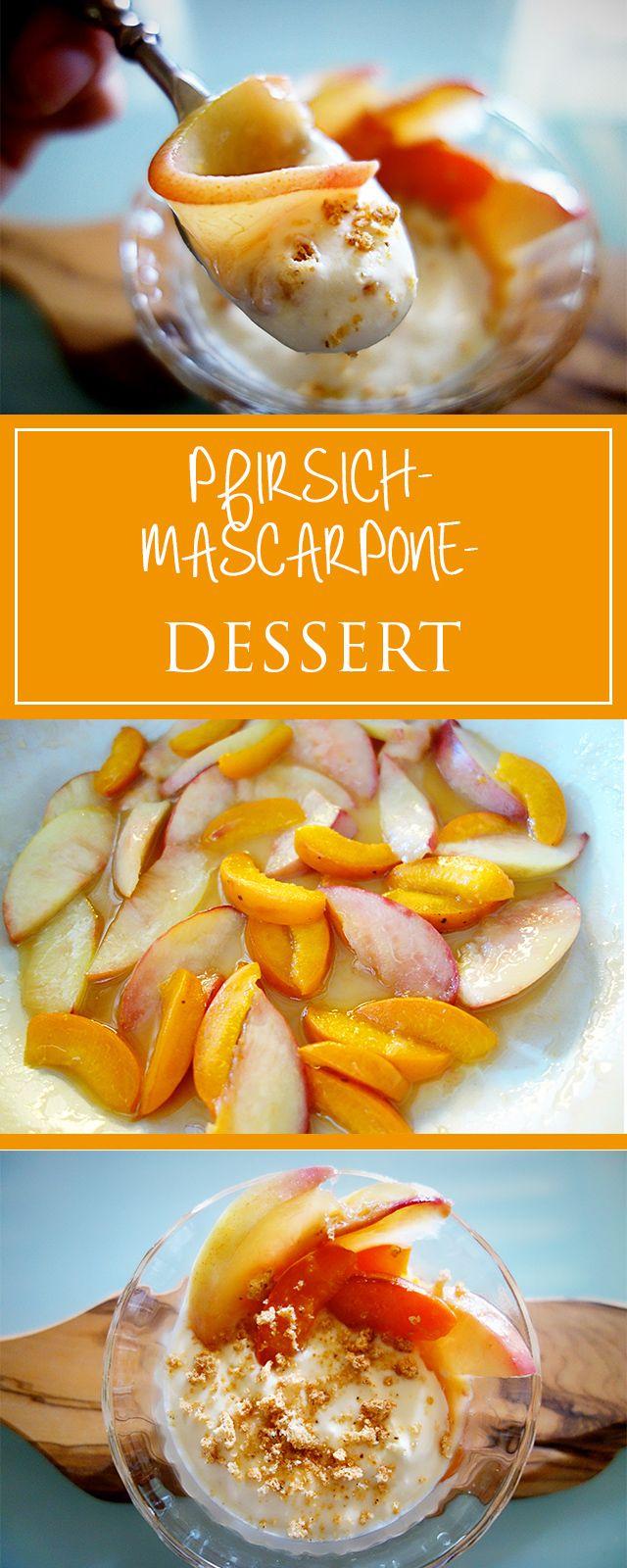 Pfirsich-Mascarpone-Dessert - ein cremiges, fruchtiges & absolut einfaches Rezept für eine (glutenfreie) Sünde, die es wert ist! 🍊❤️ | cucina-con-amore.de