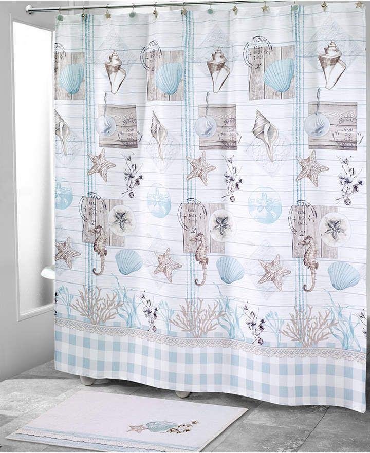 Avanti Farmhouse Shell Shower Curtain Bedding Curtains Bathroom