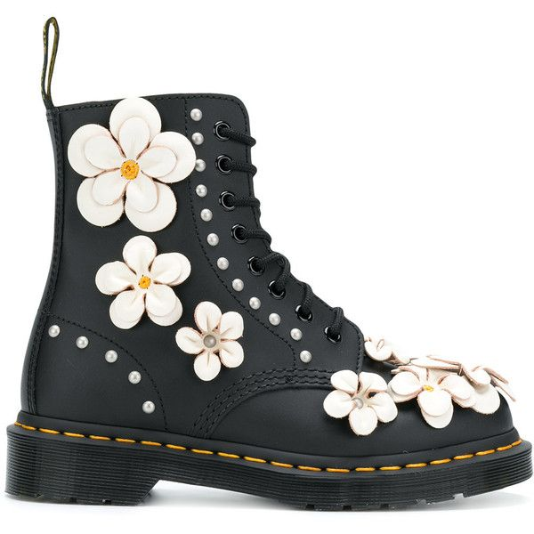 Dr. Martens embellished Pascal lace-up boots found on Polyvore featuring shoes, boots, zapatos, black, black laced boots, lace-up boots, genuine leather boots, real leather boots and leather lace up boots