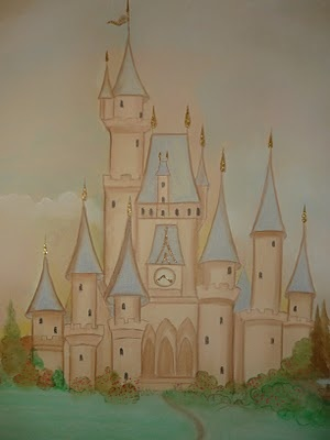 Cinderella's castle! hand painted mural in baby girl's room by www.oneirodwmatia.blogspot.com