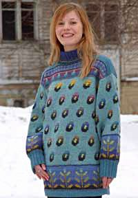 The Kukkasade sweater by textile artist Sirkka Könönen, Finland. Published and released as material kit in 90's. See online at Taito Pirkanmaa craft store and society.