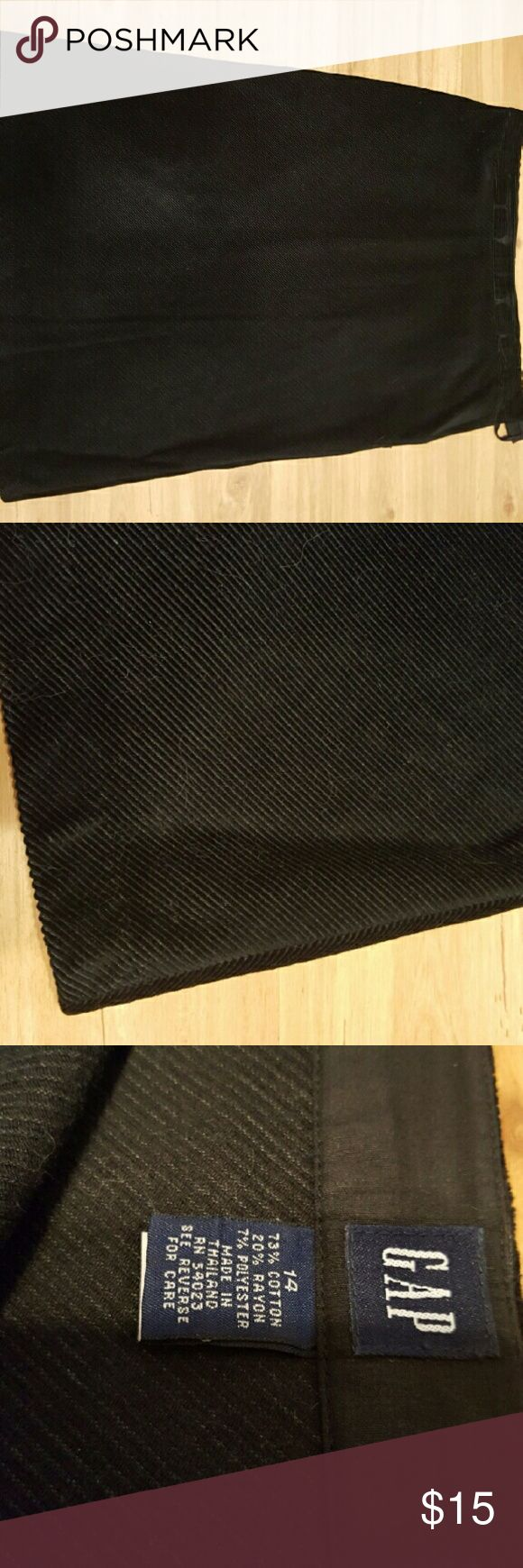 Gap skirt Classy slight A-line Gap corduroy black skirt.  Will go with so many things ....great for this winter! Let's make a deal!! GAP Skirts Midi