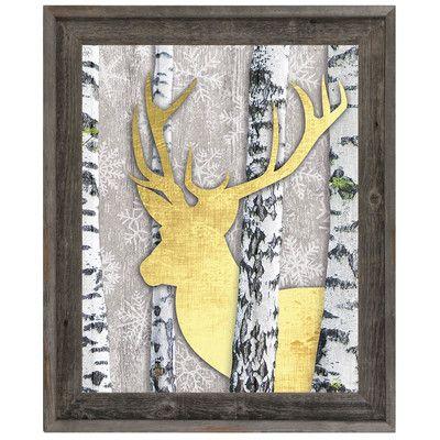 "Click Wall Art 'Deer and Cheer' Framed Graphic Art Size: 16.5"" H x 13.5"" W x 1"" D"
