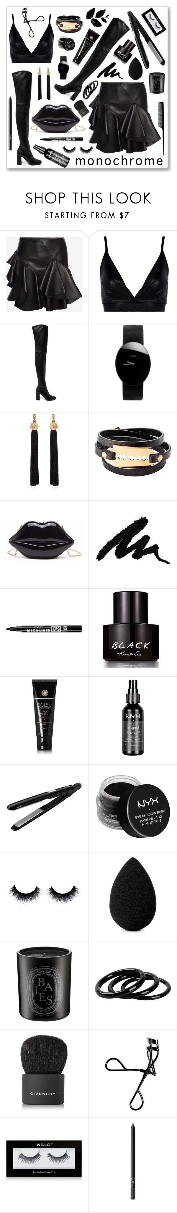 """""""Mono Black"""" by hellodollface ❤ liked on Polyvore featuring Alexander McQueen, Boohoo, Prada, Rado, Yves Saint Laurent, McQ by Alexander McQueen, Bourjois, Kenneth Cole, Soleil Toujours and Charlotte Russe"""
