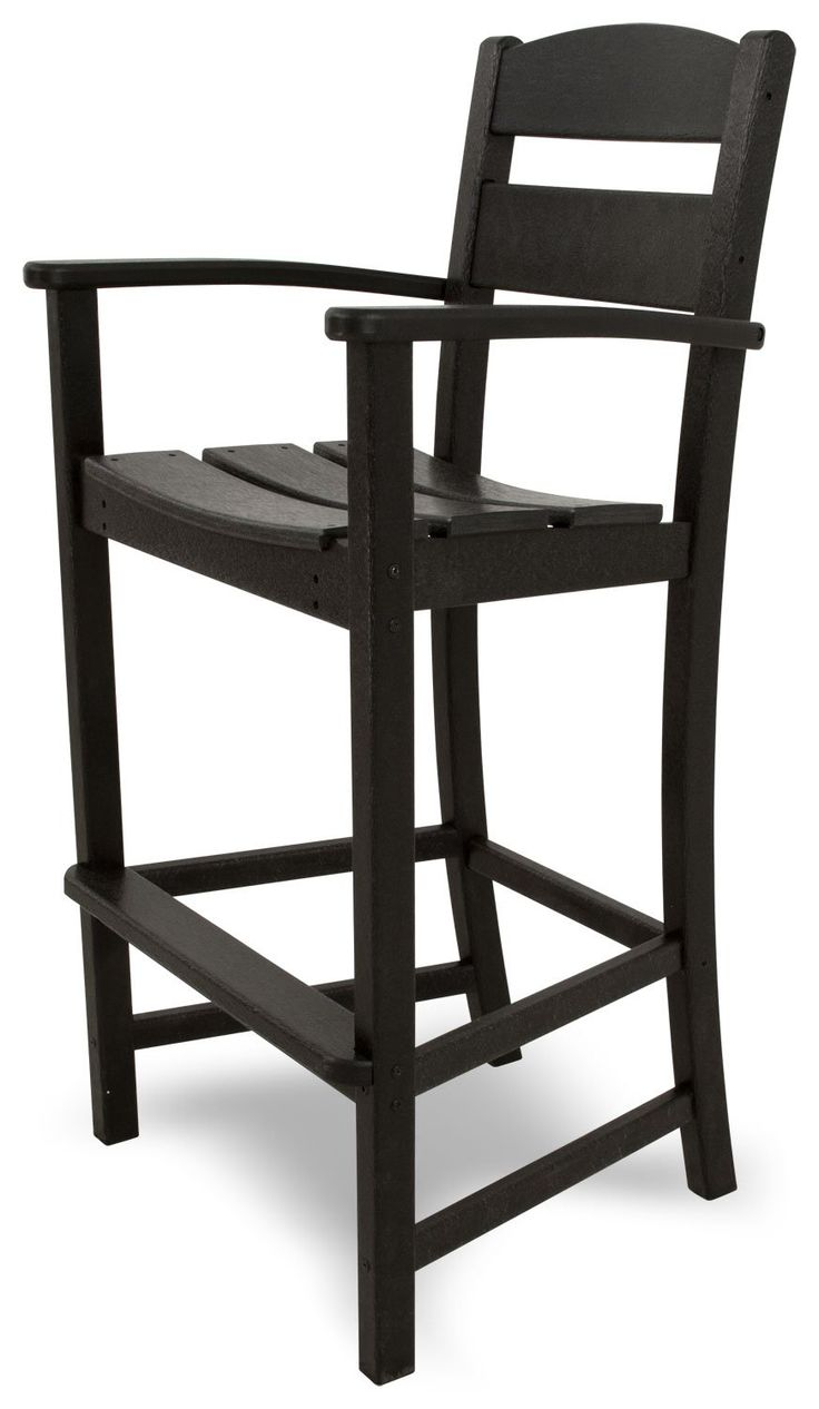 Ivy Terrace IVTD212BL Classics Bar Arm Chair, Black. Recycled All-Weather HDPE lumber will not splinter, crack, chip, peel, or rot; solid, heavy-duty construction features stainless steel hardware. Has the look of painted wood without the maintenance; requires no painting, staining or waterproofing. Some assembly required; made in the USA. Measures 24-1/2 Inch wide by 21-3/4 Inch deep by 47-1/8 Inch high; 20-year limited warranty.