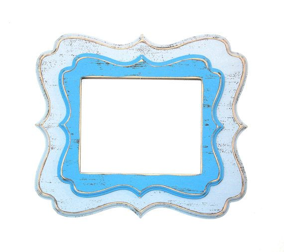 Twin Stacked Whimsical Picture Frame 16x16 or by 2DogsWoodWorking, $138.00 Do one of each style with different colors.