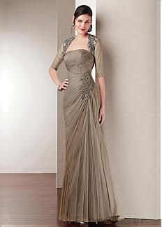 Futuristic Veil Mesh with Lace Appliques Strapless Neckline Full Length Mother of the Bride Dress with A Jacket
