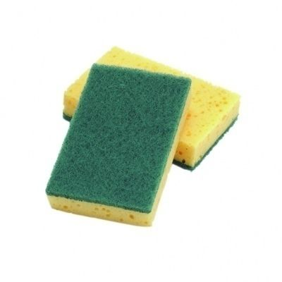 Scourers sponge. Heavy duty green bottom and foam top scourering pad. Catering scourers. Great for use in household or commercial kitchens. Also for use in all aspects of cleaning. Sold in a pack of 10.