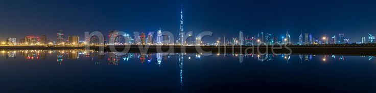 Downtown Dubai reflected in Business Bay, UAE