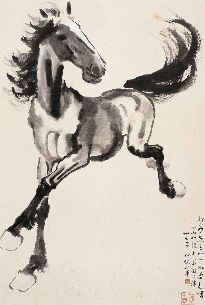 Xu Beihong (徐悲鴻, 1895-1953) was primarily known for his Shui-mo Hua (Chinese ink-and-wash painting) of horses and birds Xu Beihong's Horses | Chinese Painting | China Online Museum