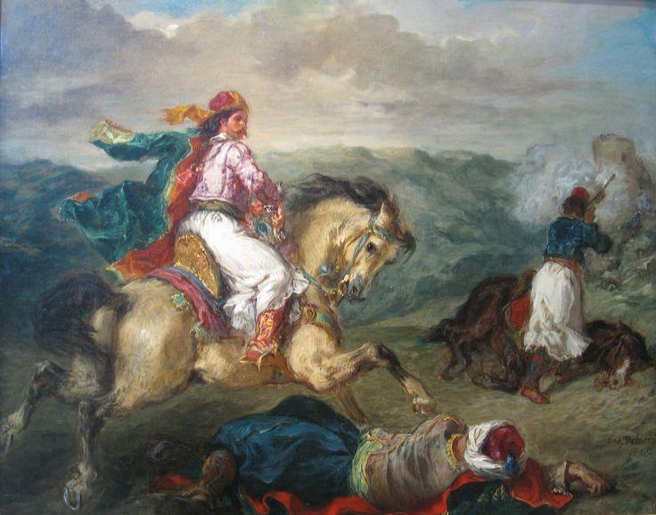 Mounted Greek Warrior-(1856) Eugene Delacroix