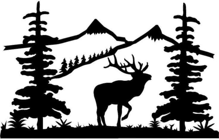 mountain shilouette clipart | location mountain scenes mountain scene bugling elk ms006