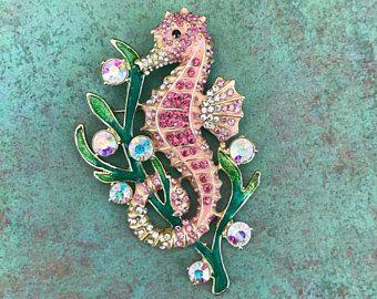 Broche de Caballito de mar de diamantes de imitación, dobles como un colgante, color de rosa, oro, brillante, criatura de mar, Animal, océano, playa, único