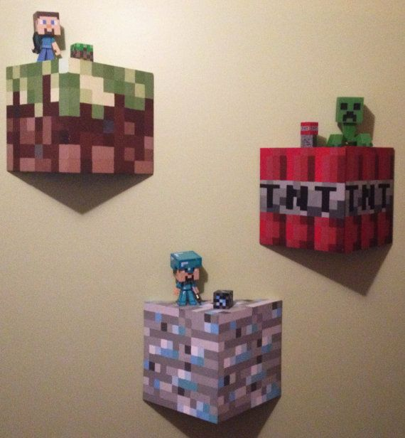 "12""X12"" UNOFFICIAL Minecraft Wall Block/Shelf. Made of real wood and hand painted. Characters in photo NOT included! on Etsy, $45.00"