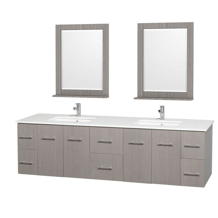 Wyndham Collection Centra Gray Oak 80-in Undermount Double Sink Oak Bathroom Vanity with Engineered Stone Top (Mirror Included)