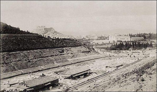 Εργασίες αποκατάστασης στο Παναθηναϊκό Στάδιο για τους Ολυμπιακούς του 1895.
