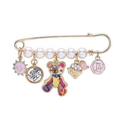 Multi Charm Gold Tassel Pearl Safety Pin Brooch Cute Bear