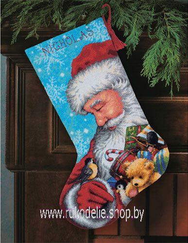 Санта с мешком игрушек, новогодний сапожок. Вышивка / Embroidery. Рождество, Новый год. Kits for embroidery. Набор для вышивки крестом Dimensions. Поделки своими руками, подарок.