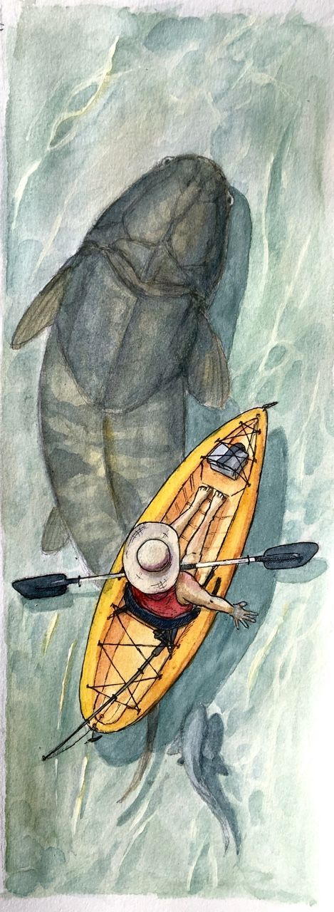 The sea is warm and calm, but a tiny ripple jostles your boat. Big momma Dunk has come by to check on you. You ask her how the fishing will be today. /iguanodont