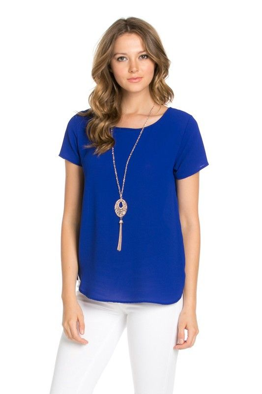 Royal Blue Simple Blouse