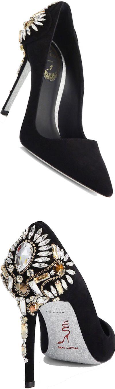 Rene Caovilla Crystal-Embellished Suede Pump, Black/Silver