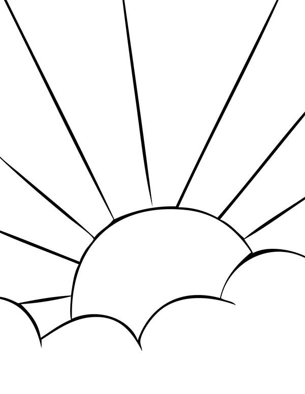 Clouds Sunrise Behind Clouds Coloring Page Coloring Pages Clouds Sunrise