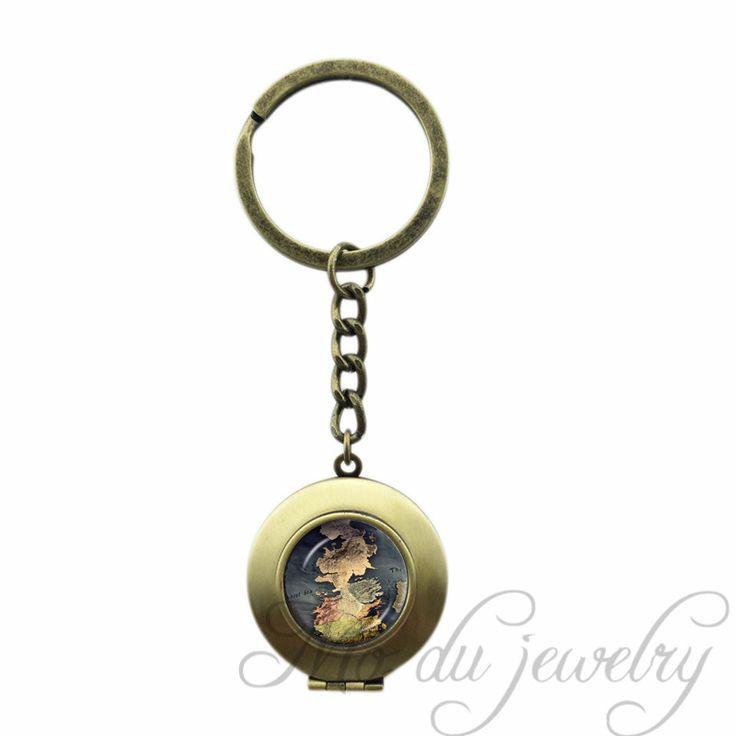 Old Map Art Picture Glass Cabochon Lockeet Pendant World Map Key Chains Steampunk Locket Key Ring Vintage Globe Map Keychain