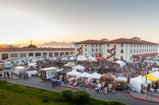 Off the Grid at Fort Mason:  Over 32 food trucks and street food carts in a huge circle with a full bar and bands in the middle? Now that's a party.