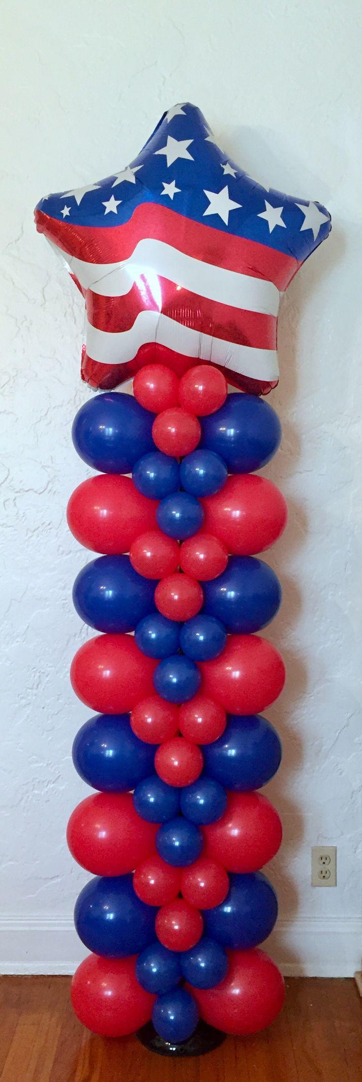 Red White & Blue Star Patriotic Balloon Column