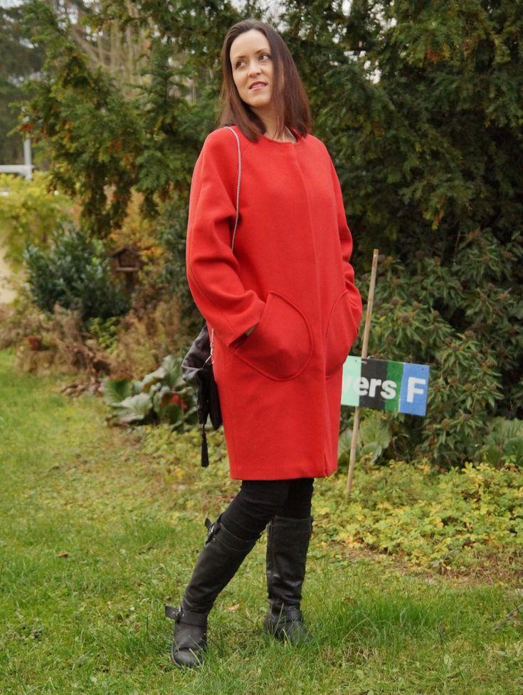 Roter Egg-shape Mantel von fawny | Nutzerkreation selbstgemacht von Hobbyschneidern der burda style Community.