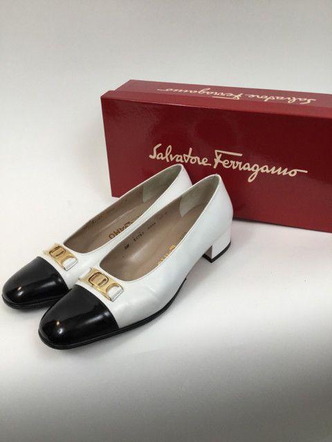 be4cffcfa42 Salvatore Ferragamo 7.5 B Black   White Pumps  fashion  clothing  shoes   accessories  womensshoes  flats (ebay link)