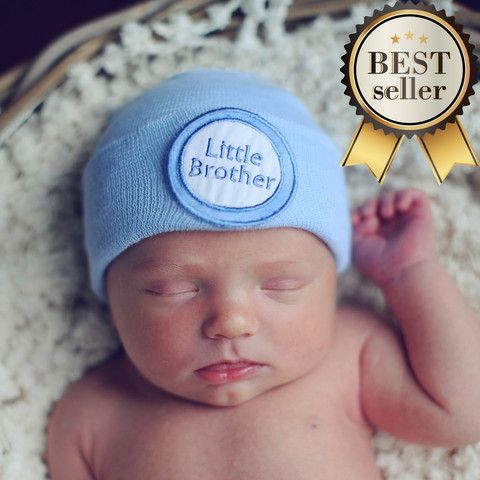 Little Brother Blue Newborn Boy Hospital Hat