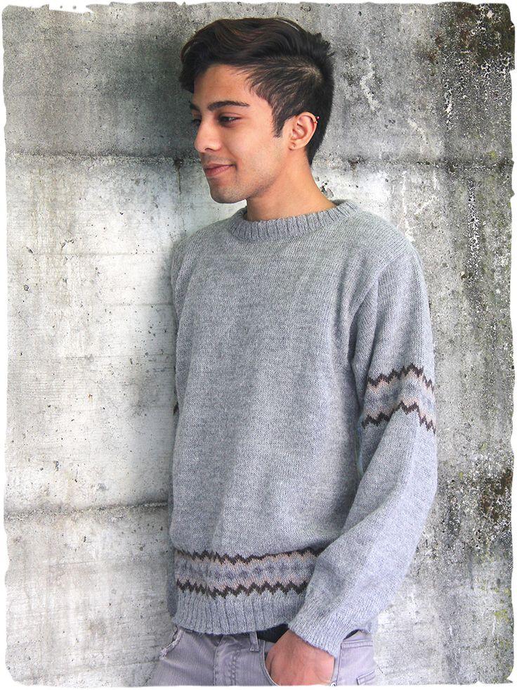 maglia lana Bruno #maglia #maglione #unisex #lana #alpaca con scollo rotondo - piccolo #disegno #etnico - www.lamamita.it/store/abbigliamento-invernale/1/maglioni/maglia-lana-bruno
