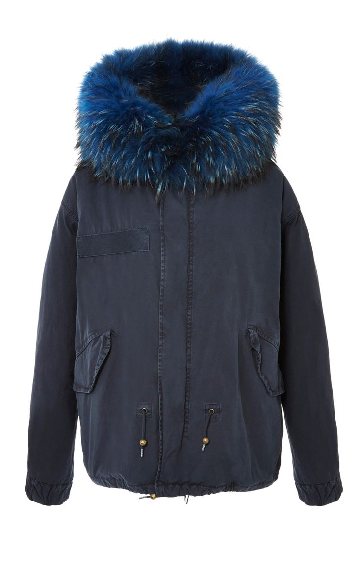 Navy Mini Parka With Bluette Wool by Mr & Mrs Furs for Preorder on Moda Operandi