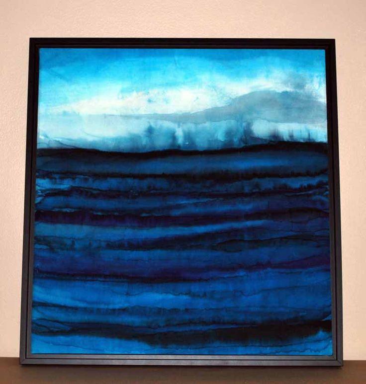 jana lamberti silk art - no glass shadow box frame seascape 800