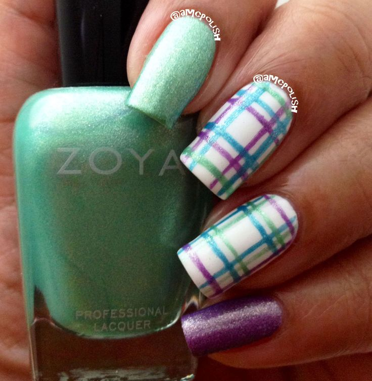 Best 25 plaid nail art ideas on pinterest argyle nails plaid mint green blue and purple pastel with plaid print nail art design prinsesfo Choice Image