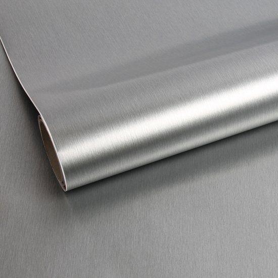 Graham & Brown - Metallic Brush Zilver - Zelfklevende Decoratiefolie - 45x150 cm