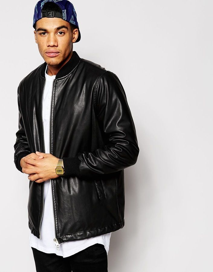 $39, Black Leather Bomber Jacket: Asos Brand Faux Leather Bomber Jacket In Longline. Sold by Asos. Click for more info: https://lookastic.com/men/shop_items/287303/redirect
