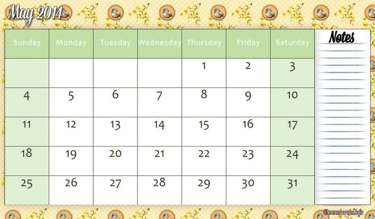 printable may 2014 calendar for free