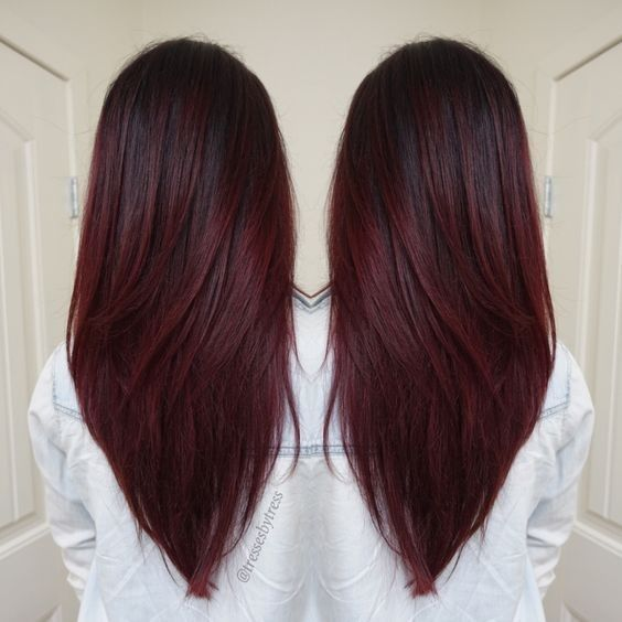 V Haircuts for Long Hair - Dark Red Violet Plum, Ombre Balayage, Winter Hair Colors 2016 - 2017