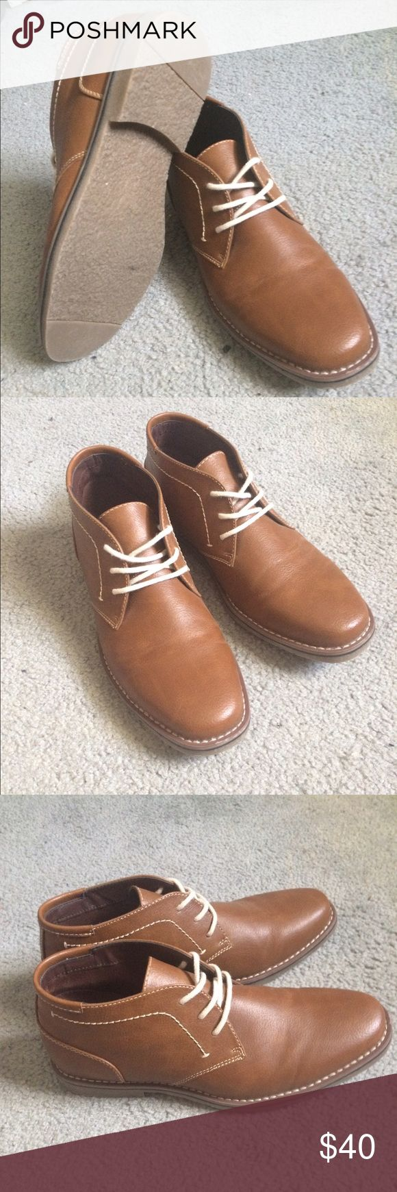 Brown Sonoma Chukka Boots - Men's 8.5 Brown leather chukka boots with white laces & white stitching. Worn once. In excellent condition. jcpenney Shoes Chukka Boots