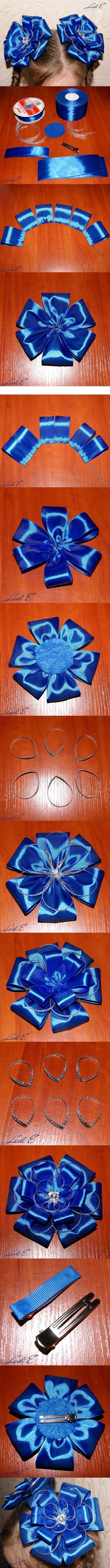 DIY Clip Hair for Girls : DIY Ribbon Lush Bow